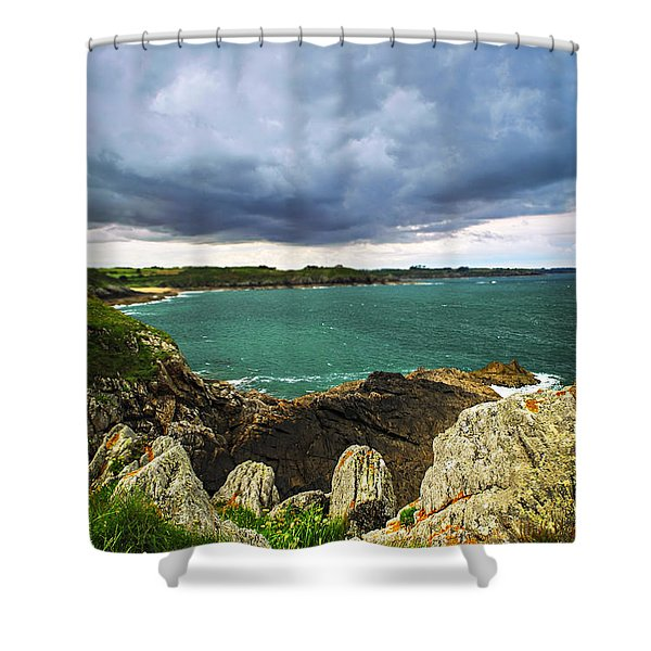 Atlantic Coastline In Brittany Shower Curtain by Elena Elisseeva