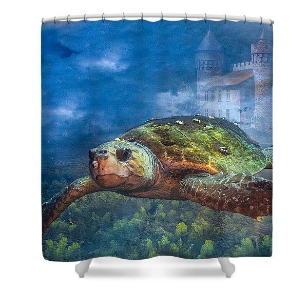Atlantis Shower Curtain by Debra and Dave Vanderlaan