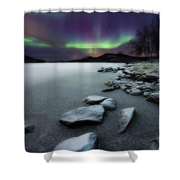 Aurora Borealis Over Sandvannet Lake Shower Curtain by Arild Heitmann