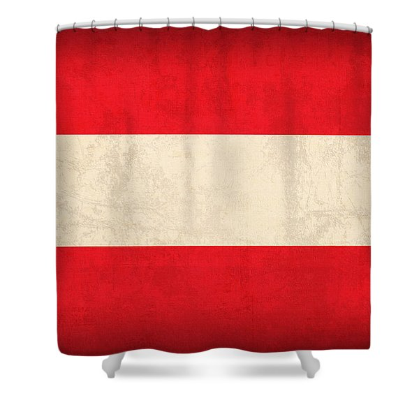 Austria Flag Vintage Distressed Finish Shower Curtain by Design Turnpike