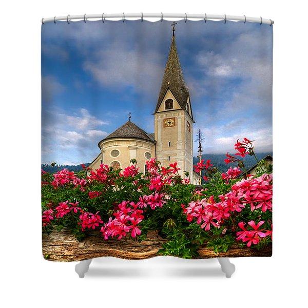 Austrian Church Shower Curtain by Debra and Dave Vanderlaan
