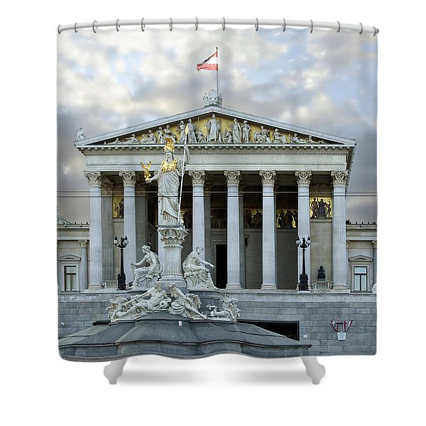 Austrian Parliament Building In Vienna Shower Curtain by Mountain Dreams