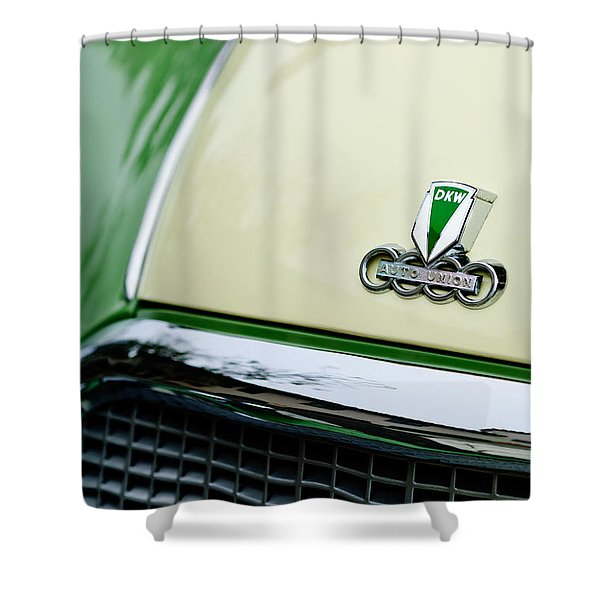 Auto Union DKW Hood Emblem Shower Curtain by Jill Reger