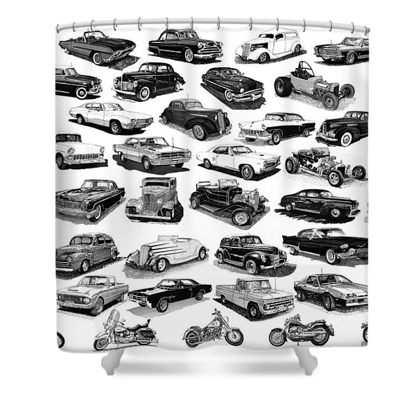 AUTOMOTIVE PEN AND INK POSTER Shower Curtain by Jack Pumphrey