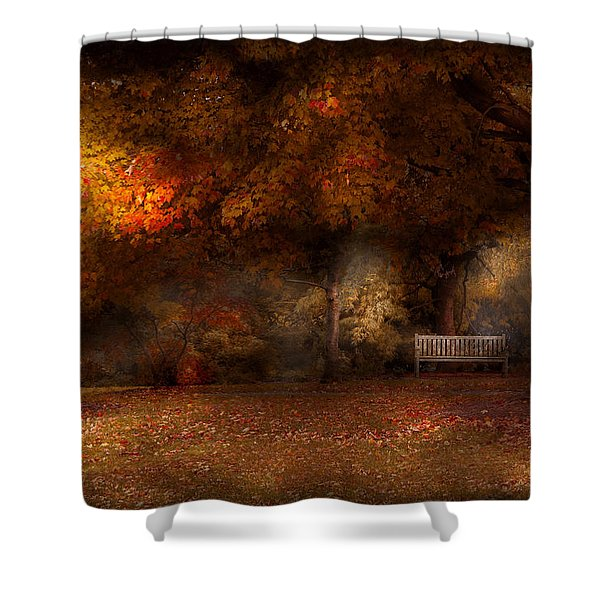 Autumn - A park bench Shower Curtain by Mike Savad