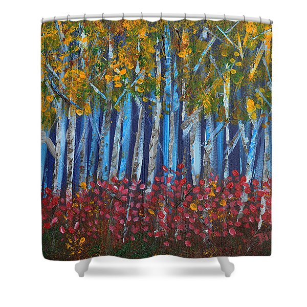 Autumn Aspens Shower Curtain by Donna Blackhall