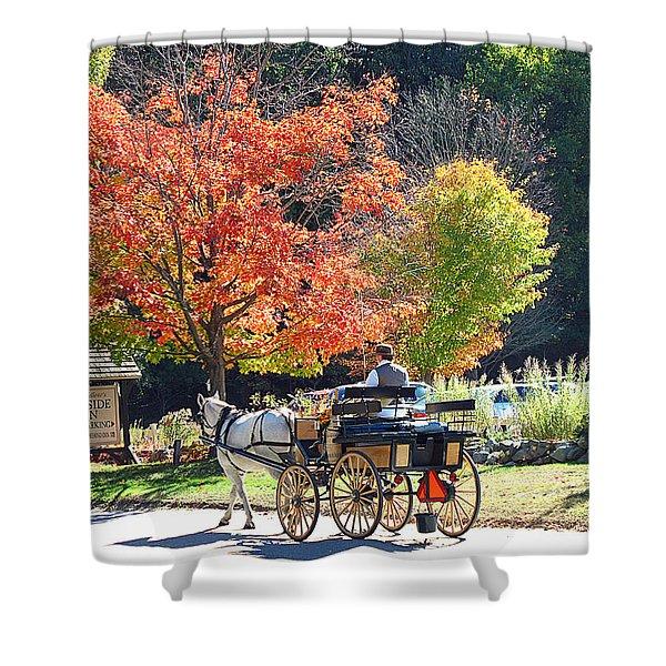 Autumn Carriage Ride Shower Curtain by Barbara McDevitt