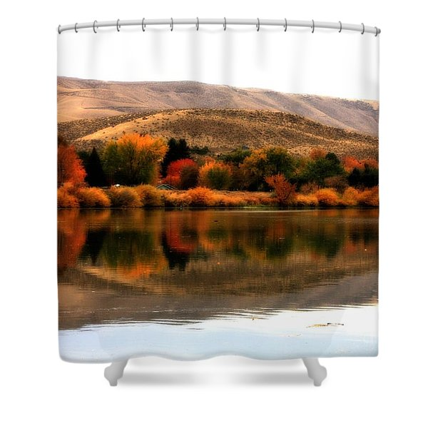 Autumn Glow On The Yakima River Shower Curtain by Carol Groenen