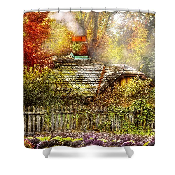 Autumn - House - On the way to grandma's House Shower Curtain by Mike Savad