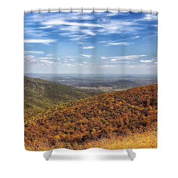 Autumn Layers Shower Curtain by Kim Hojnacki