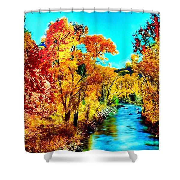 Autumn Oak Creek Sedona Arizona Shower Curtain by Bob and Nadine Johnston