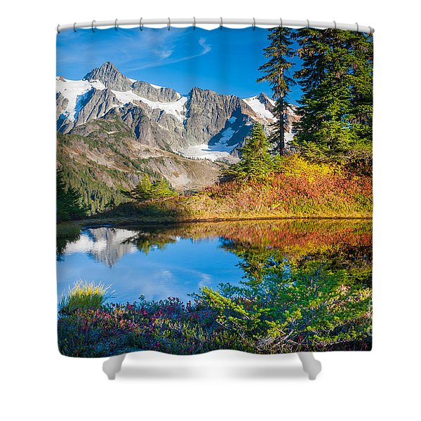 Autumn Tarn Shower Curtain by Inge Johnsson