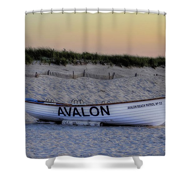 Avalon Lifeboat Shower Curtain by Bill Cannon