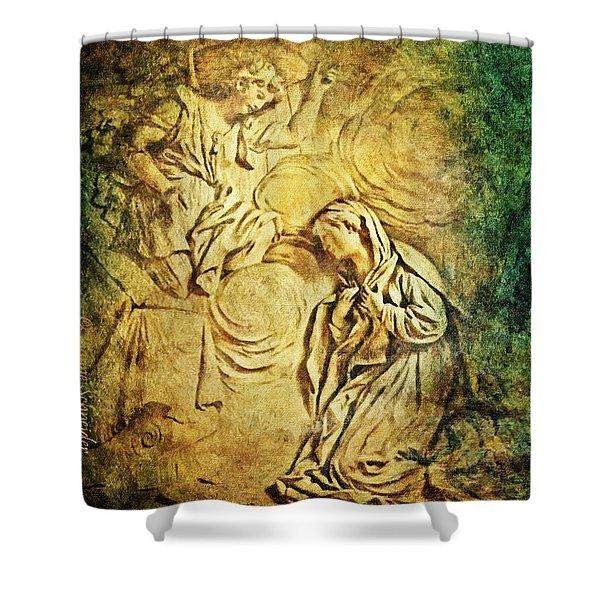 Ave Maria...gratia Plena Shower Curtain by Lianne Schneider