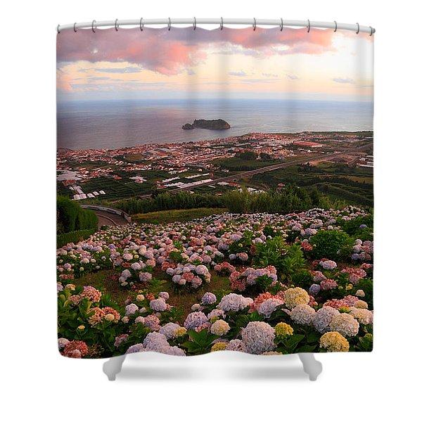 Azorean Town At Sunset Shower Curtain by Gaspar Avila