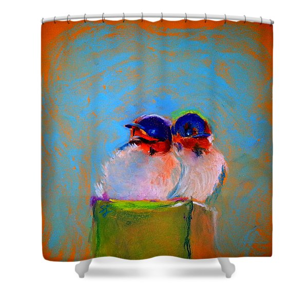 Baby Swallows Shower Curtain by Sue Jacobi