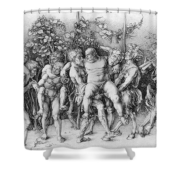Bacchanal With Silenus - Albrecht Durer Shower Curtain by Daniel Hagerman