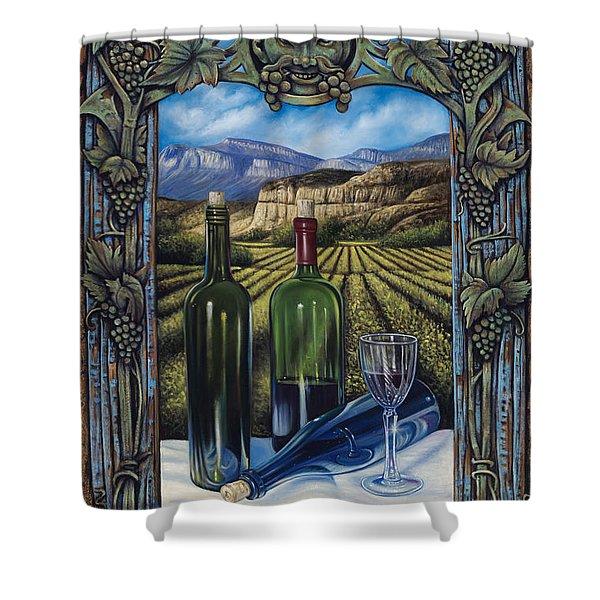 Bacchus Vineyard Shower Curtain by Ricardo Chavez-Mendez