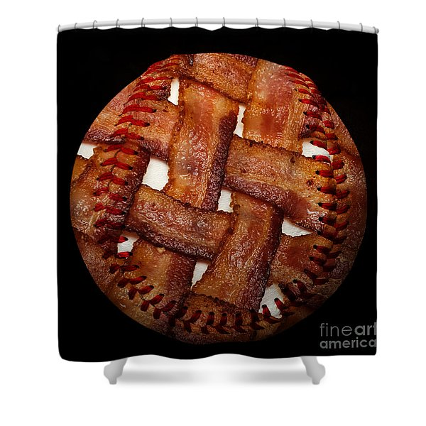Bacon Weave Baseball Square Shower Curtain by Andee Design