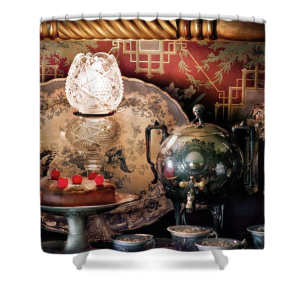 Baker - Ready for the party Shower Curtain by Mike Savad