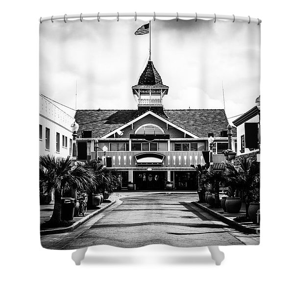 Balboa California Main Street Black And White Picture Shower Curtain by Paul Velgos