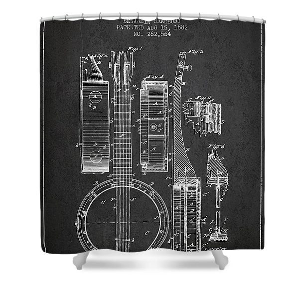 Banjo patent Drawing from 1882 Dark Shower Curtain by Aged Pixel