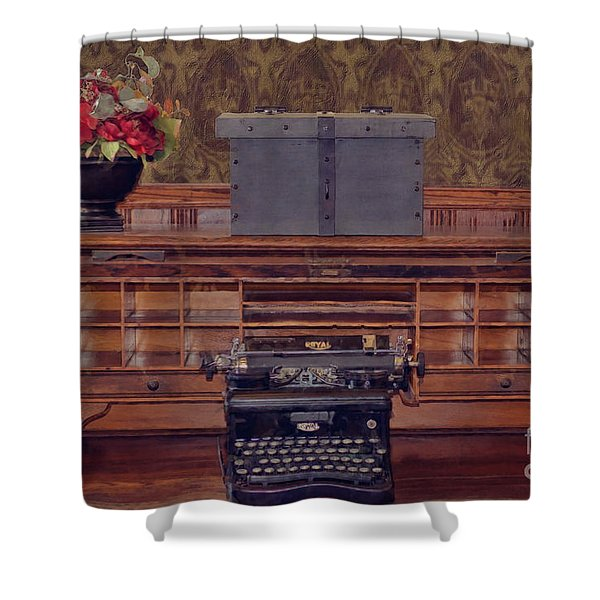 Bank - Secretary Shower Curtain by Liane Wright