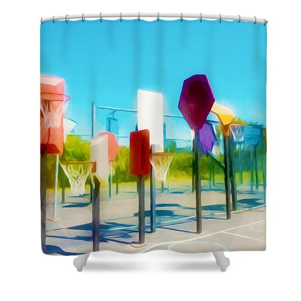 Bankshot Basketball 2 Shower Curtain by Lanjee Chee