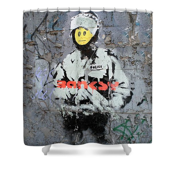 Banksy  Shower Curtain by A Rey