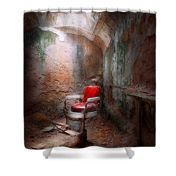 Barber - Eastern State Penitentiary - Remembering my last haircut  Shower Curtain by Mike Savad