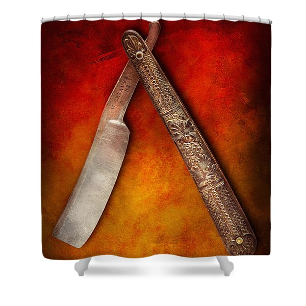 Barber - Shaving - Keep a stiff upper lip Shower Curtain by Mike Savad