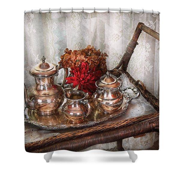 Barista - Tea Set - Morning tea  Shower Curtain by Mike Savad