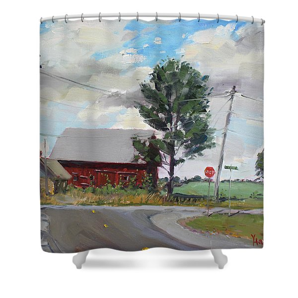 Barn by Lockport Rd Shower Curtain by Ylli Haruni