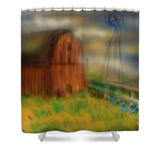 Barn Shower Curtain by Marisela Mungia