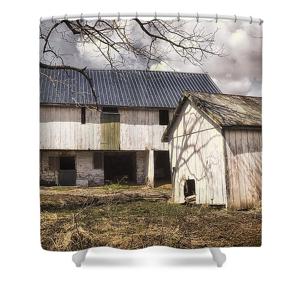 Barn Near Utica Mills Covered Bridge Shower Curtain by Joan Carroll