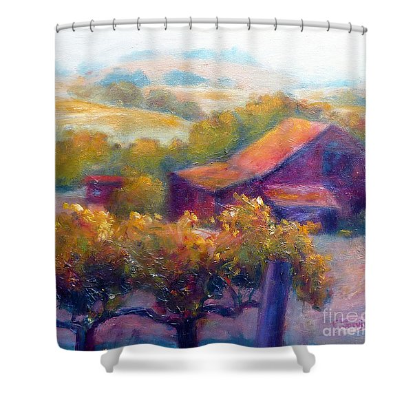 Barn Vineyard Shower Curtain by Carolyn Jarvis