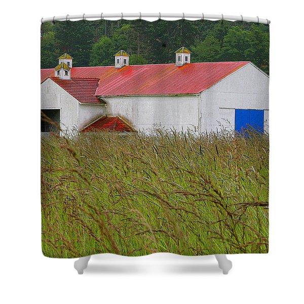 Barn with Blue Door Shower Curtain by Art Block Collections