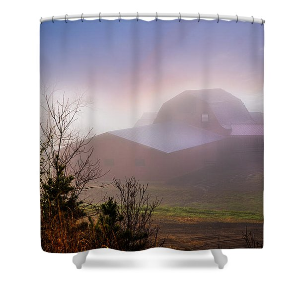 Barns in the Morning Light Shower Curtain by Debra and Dave Vanderlaan