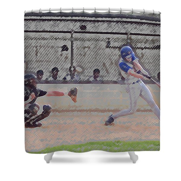 Baseball Batter Contact Digital Art Shower Curtain by Thomas Woolworth