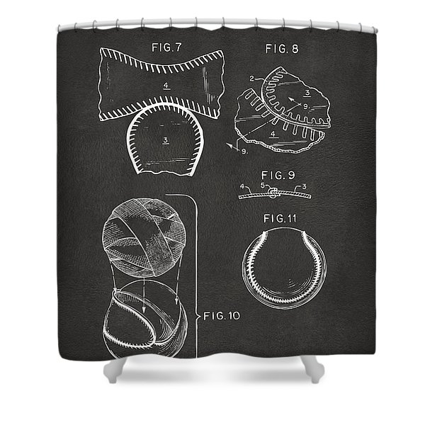 Baseball Construction Patent 2 - Gray Shower Curtain by Nikki Marie Smith