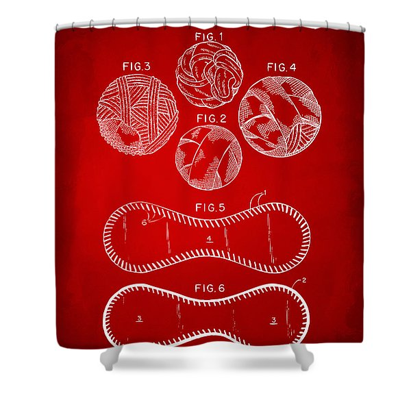 Baseball Construction Patent - Red Shower Curtain by Nikki Marie Smith