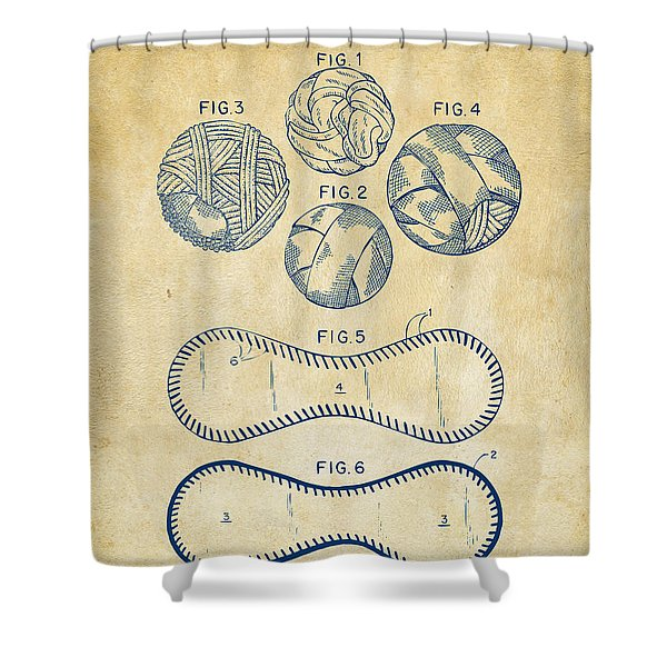 Baseball Construction Patent - Vintage Shower Curtain by Nikki Marie Smith