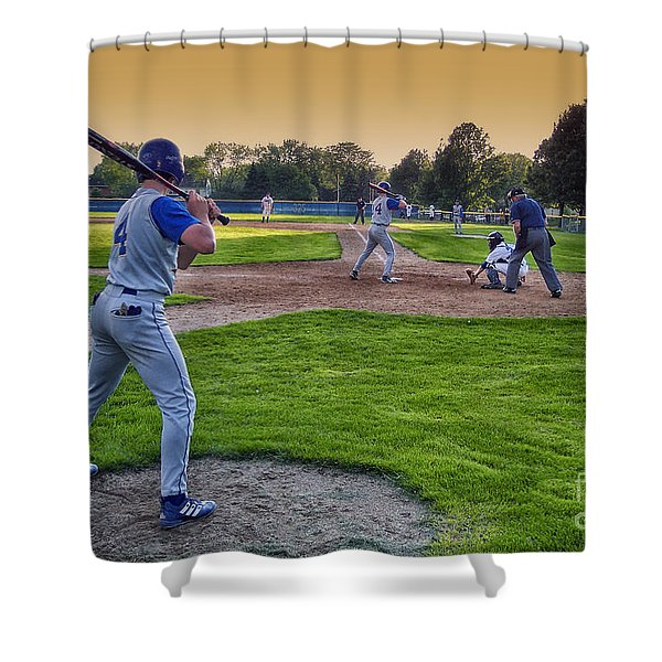 Baseball On Deck Circle Shower Curtain by Thomas Woolworth
