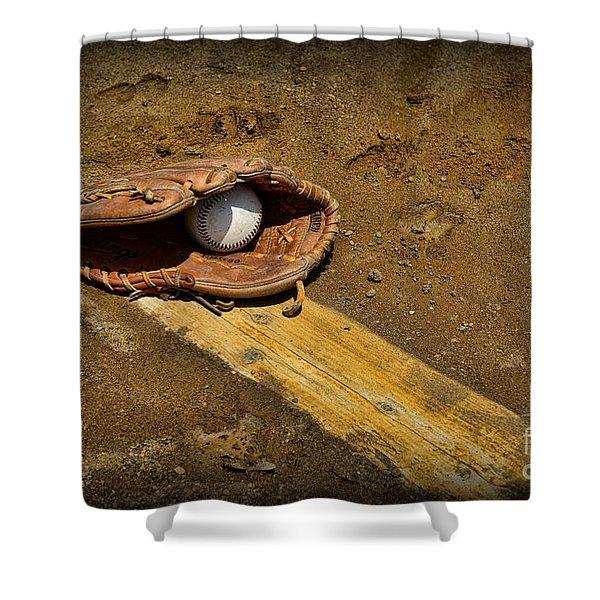 Baseball Pitchers Mound Shower Curtain by Paul Ward