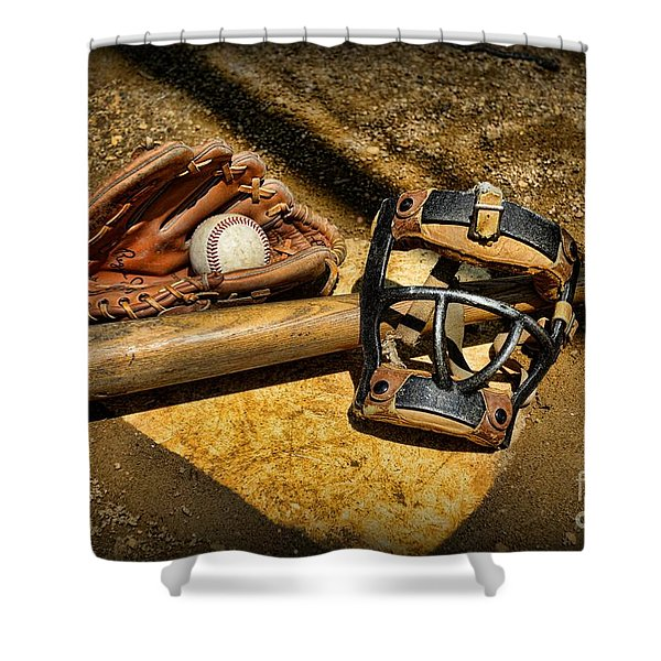 Baseball Play Ball Shower Curtain by Paul Ward
