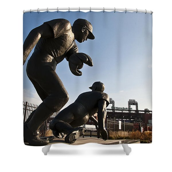 Baseball Statue at Citizens Bank Park Shower Curtain by Bill Cannon