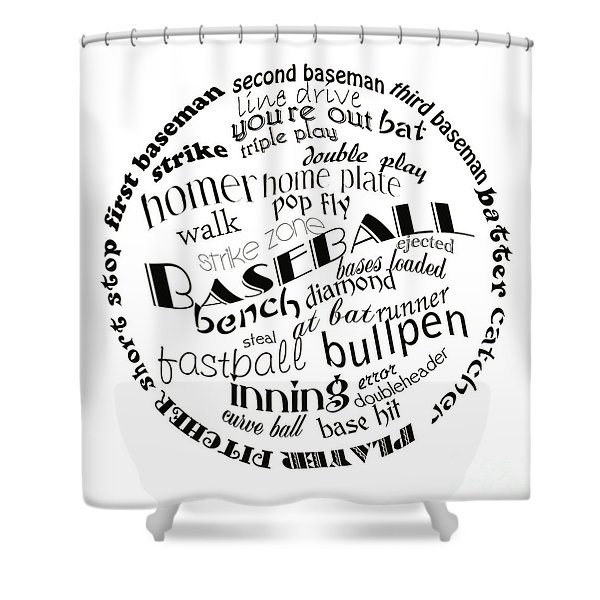 Baseball Terms Typography Black And White Shower Curtain by Andee Design