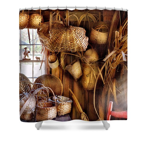 Basket Maker - I like weaving Shower Curtain by Mike Savad