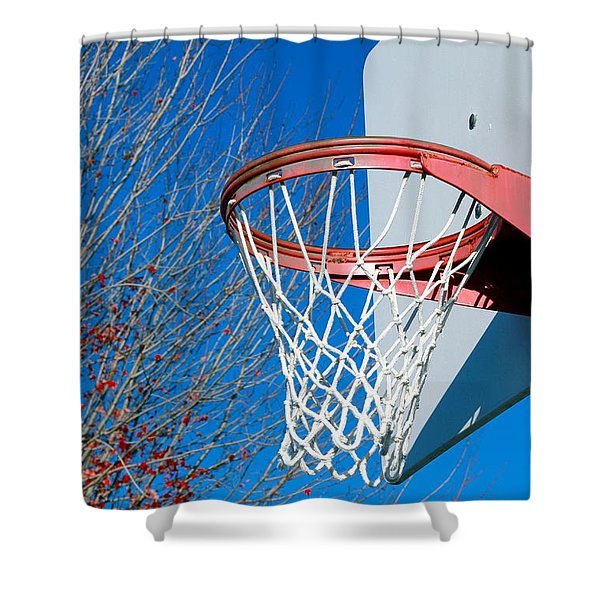 Basketball Net Shower Curtain by Valentino Visentini