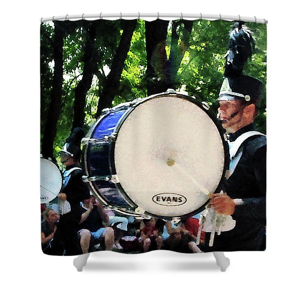 Bass Drums on Parade Shower Curtain by Susan Savad